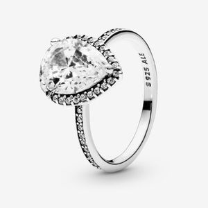 Sparkling Tear Drop Halo Ring